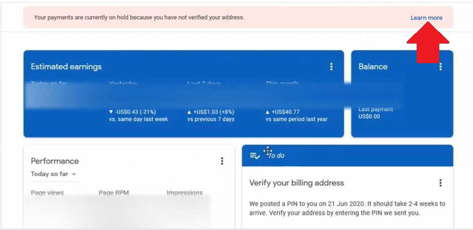 bina pin adsense address verification