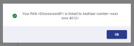 your pan is linked to Aadhaar number